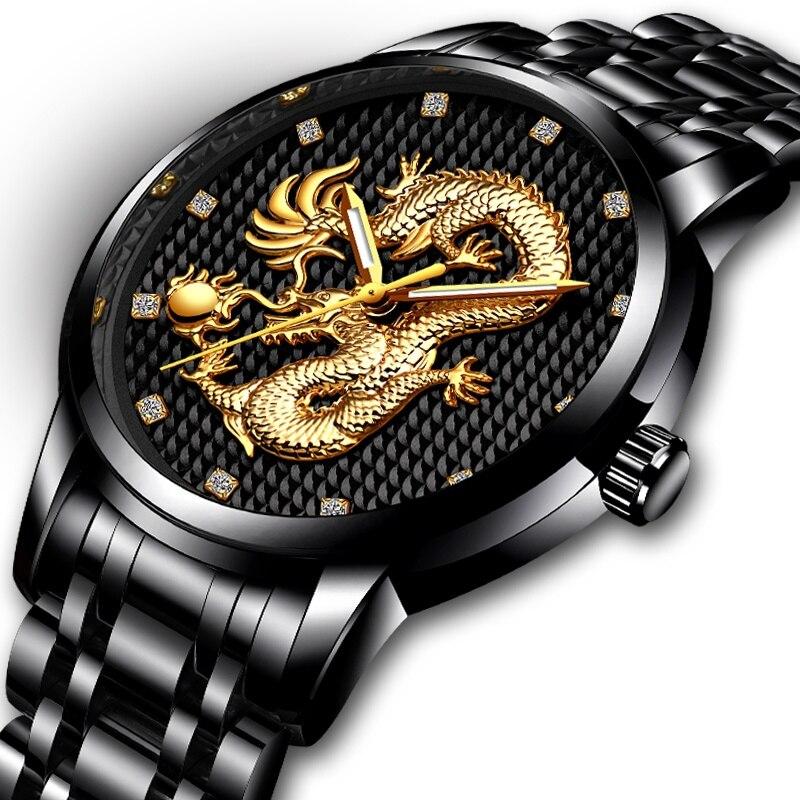Men Watches Top Brand LIGE Luxury Gold Dragon Sculpture Quartz Watch Men Full Steel Waterproof Wristwatch Relogio masculino недорго, оригинальная цена