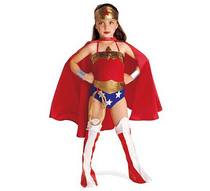 Halloween Superman Wonder Woman Children Party Cosplay Costumes Gift For Girls Clothes Children's Clothing Set  N1561