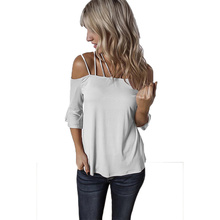 2019 Summer Blouse Women Sexy Sling Strapless Halter Trumpet Sleeve Womens Tops and Blouses Off Shoulder Top Ladies Tops New mesh shoulder trumpet sleeve top