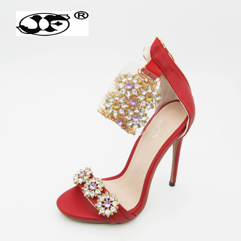 Latest Women Open Toe Strappy Ankle Strap Gold Sandals Crystal Transparent Clear Block Thick High Heel crystal Sequined ShoesLatest Women Open Toe Strappy Ankle Strap Gold Sandals Crystal Transparent Clear Block Thick High Heel crystal Sequined Shoes