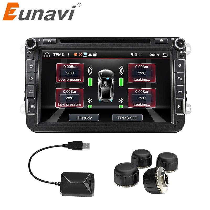 Eunavi автомобиля TPMS Универсальный Android шин давление мониторинга системы для OS DVD плеер USB Интерфейс Внутренний дополнительный всех