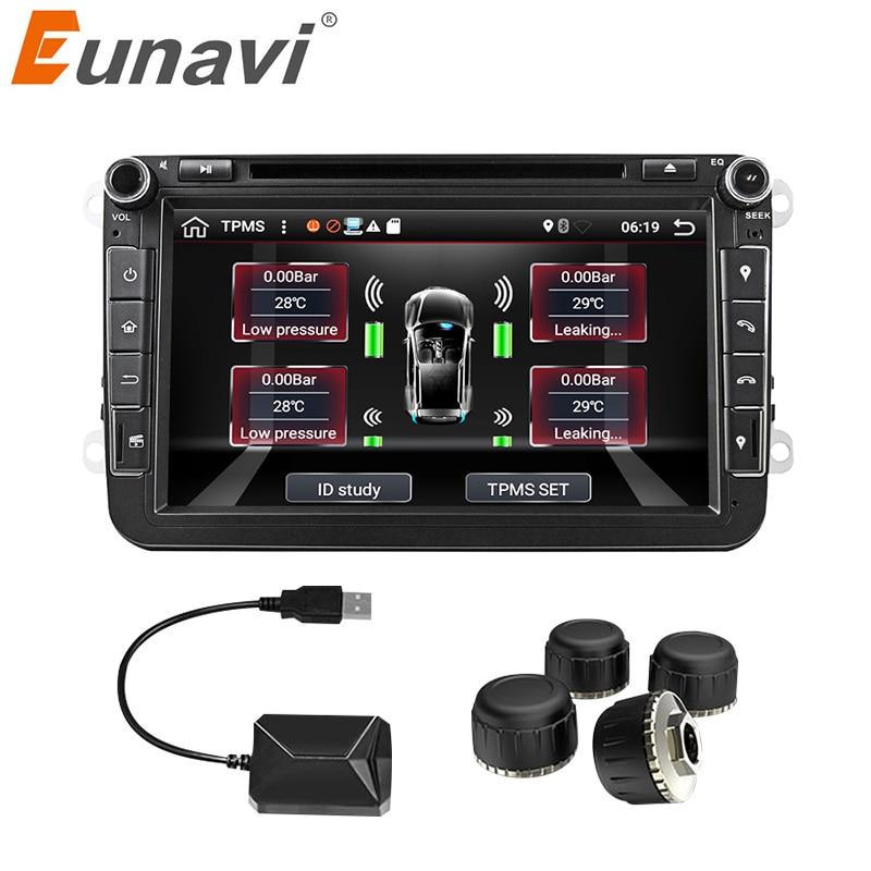 Eunavi voiture TPMS système de surveillance de pression des pneus Android universel pour OS lecteur DVD Interface USB interne supplémentaire pour toutes les voitures