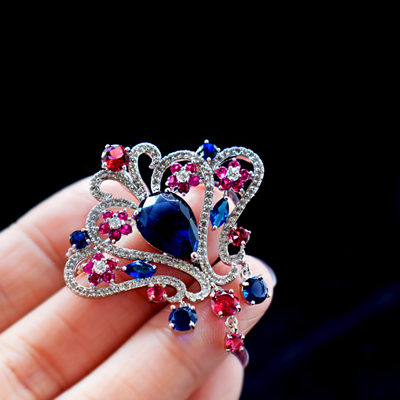 Korean Crystal Zircon Brooches Fashion Women Pin Brooch Gift Jewelry Cubic Zirconia Flower Corsage Accessories 2017 new year kid baby boys girls christmas costume santa claus suit christmas clothes tops pant 2pcs boys girl kids clothes