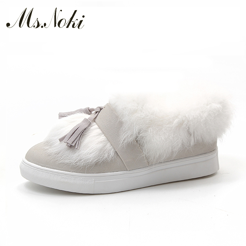 Ms.Noki New 2017 Winter Shoes Women Fur Flats Shoes Sexy Pointed toe Warm Fashion Women's Flats Office Ladies Comfortable shoes new 2017 spring summer women shoes pointed toe high quality brand fashion womens flats ladies plus size 41 sweet flock t179