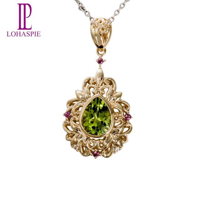 Lohaspie Stone Jewelry Natural Peridot Rhodolite Garnet Topaz 10k Yellow Gold Romantic Gemstone Pendant Fine Jewelry For Gift
