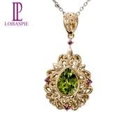 Lohaspie Stone Jewelry Natural Peridot Rhodolite Garnet Topaz 10k Yellow Gold Romantic Gemstone Pendant Fine Jewelry For Gift