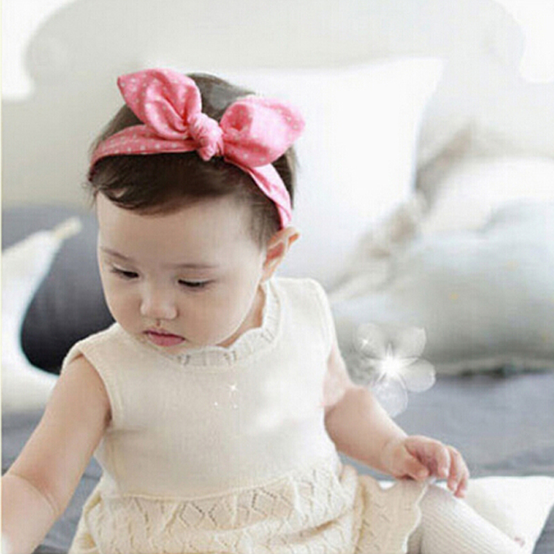1PC Rabbit Ear Headband Korea Style Headband Bow elastic Knot top hair accessories Kids Headband Hair Bow w--141 1 pc women fashion elastic stretch plain rabbit bow style hair band headband turban hairband hair accessories