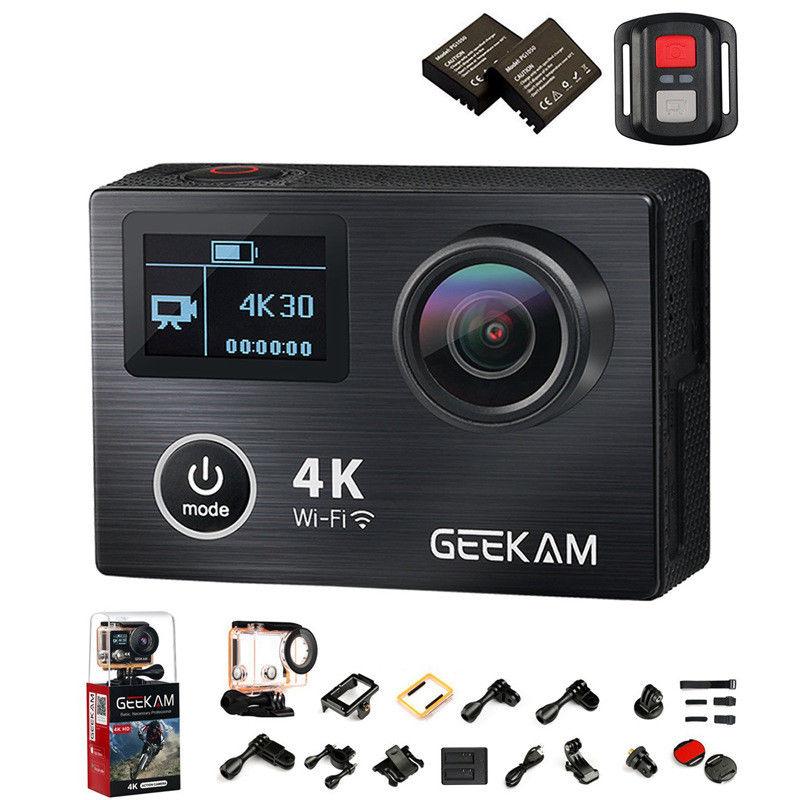 Caméra d'action GEEKAM K8 Ultra HD 4 K WIFI Sport 360VR K8 1080 P double 2 en LCD 170D casque étanche grand angle caméra MINI caméscope