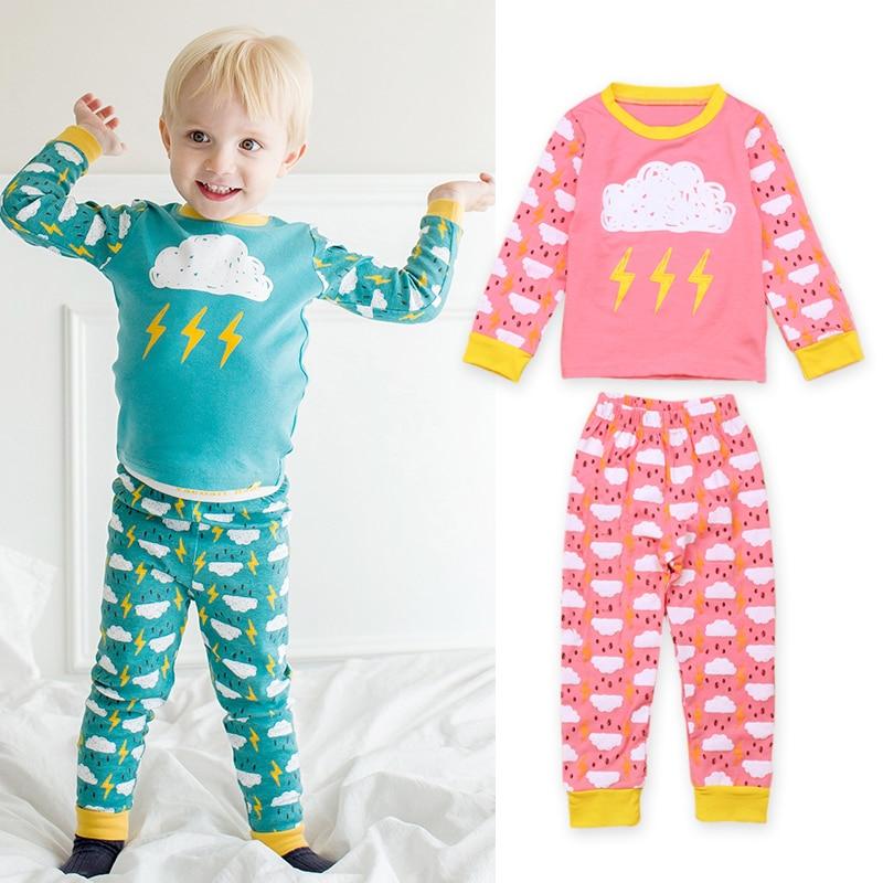Rorychen Baby Girls Pajamas Baby Clouds Sleepwear Kids Pijamas Boys Pyjamas Long Sleeve Cotton Nightwear For 2-7 Years
