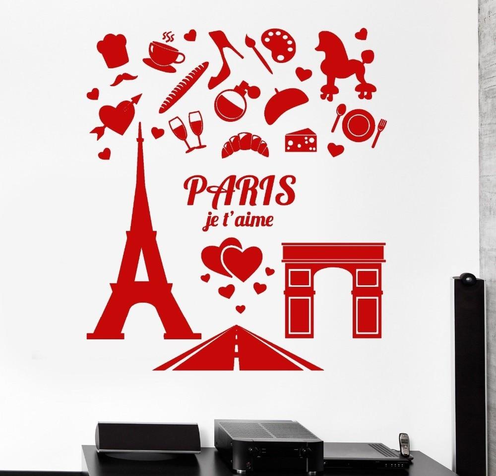 vinilos paredes vinilo pared paris eiffel tower arc de triomphe design wall stickers famous diy