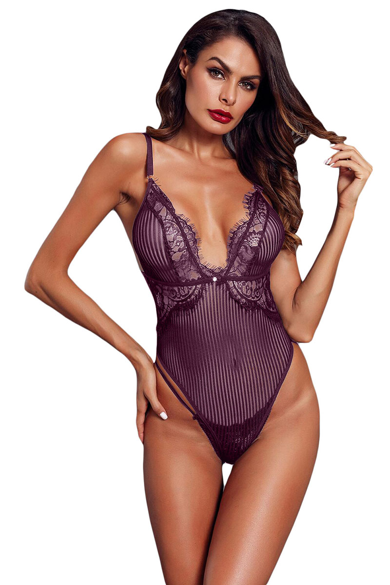 Purple-Striped-Mesh-Bodysuit-LC32223-8-1
