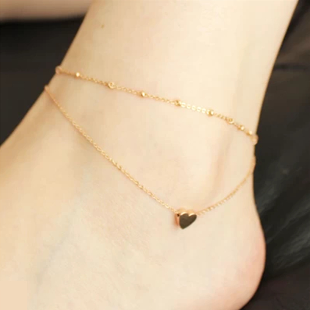 Alloy Heart Double Layer Anklets For Women Foot font b Jewelry b font pulseras tobilleras mujer