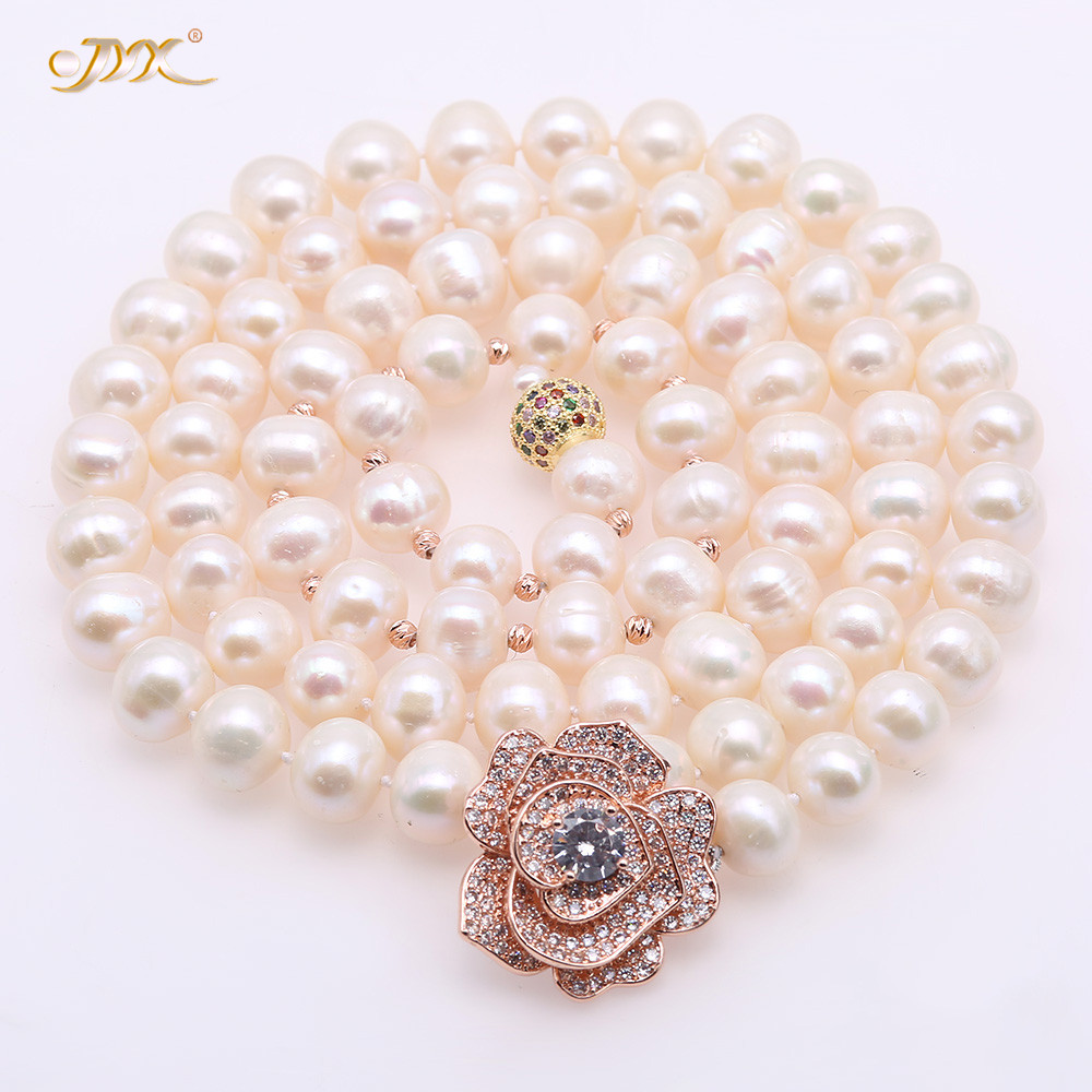 JYX Fine Zircon Rose Pearl Necklace natural 10.5-11.5mm White Freshwater Cultured Pearl Adjustable Long Necklace 34.5 womenJYX Fine Zircon Rose Pearl Necklace natural 10.5-11.5mm White Freshwater Cultured Pearl Adjustable Long Necklace 34.5 women