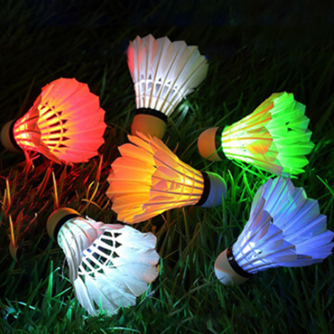 6Pcs Colorful LED Luminous Goose Feather Badminton Newfangled Dark Night Glow Lighting Shuttlecock Indoor Sports Flash Colors