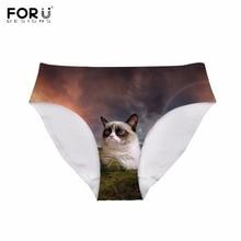 6222841b13c4 FORUDESIGNS Funny 3D Galaxy Nebula Grumpy Cat Printing Women Panties  Breathable Sexy Traceless Underwear Mid-