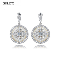 Gulicx 2017 Vintage Unique Design Fashion Deluxe Cubic Zircon Created Pearl Dangle Earrings For Women Bridal
