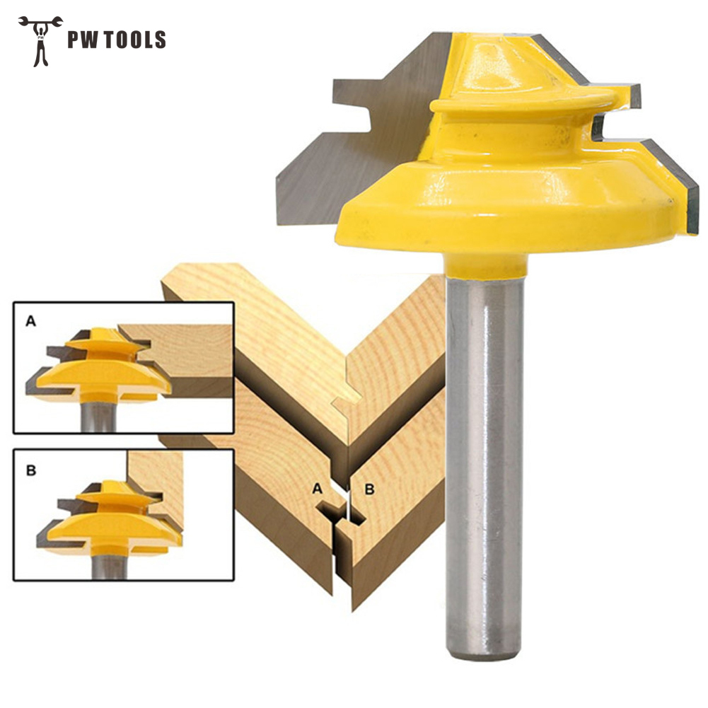 1Pc 45 Degree Lock Miter Router Bit 1/4 Inch Shank Woodworking Tenon Milling Cutter Tool Drilling Milling For Wood Carbide Alloy 2pcs 120 degree lock router bit woodworking 1 2 shank frame tenon stitching milling cutter tool groove chisel engraving machine
