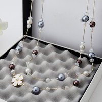 New Arrive 2015 Fashion Vintage Jewelry Pearl Flower Necklace Long Necklace For Women X044