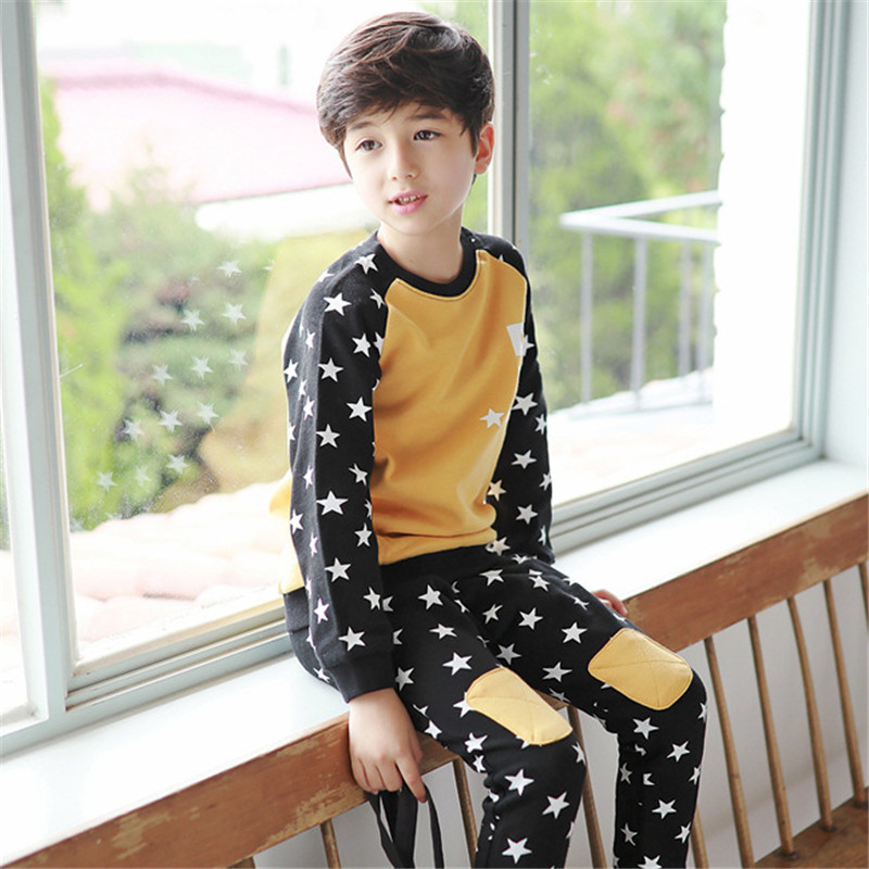 2017 Casual Boys Clothing Set Spring Autumn Kids Clothes Long Sleeve Pullover Star Sports Suit for Children kids boys long sleeve pullover shirt jeans denim trousers 2016 spring kids clothes casual boys clothing set