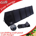 14w foldable solar charger for cell phone dual usb solar panel charger for iphone saumsung smart phone and 5V USB Devices
