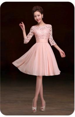 Элегантное короткое официальное Королевское голубое кружево украшенное женское платье цвета шампань для вечерние платья с половиной рукава W2852 - Цвет: pink short
