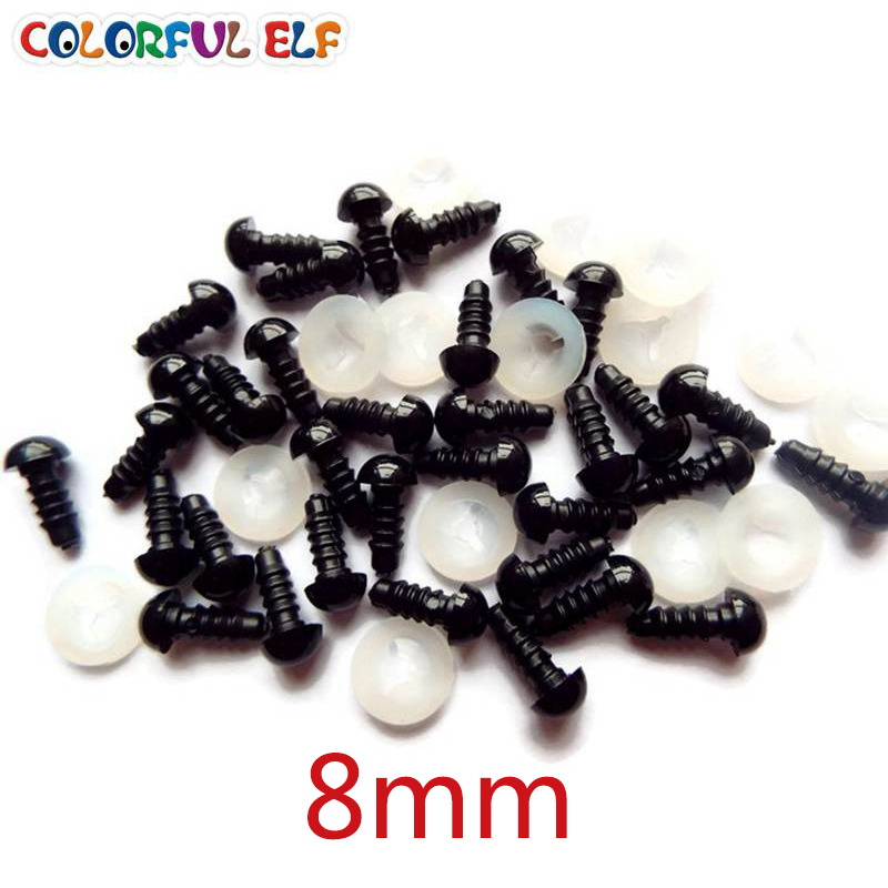 8mm 50 de perechi (100pcs) Transport gratuit ceas negru de - Păpuși și jucării umplute