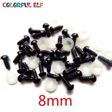 8mm 50 Pairs(100pcs) Free Shipping Black Safety Eyes With Plastic Washers Fit For Teddy Bear /Crochet /Plush Doll