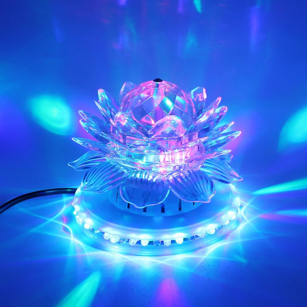 Lotus Led Stage Light Sound Actived Auto RGB Stage Lighting UFO With EU Plug KTV Xmas Party Wedding DJ Lighting Decoration