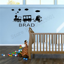 Wall Sticker Train With Personalized Name Poster Art Removeable Vinyl Home Decor Beautiful Kidsroom Ornament Mural Decal LY721 цена и фото