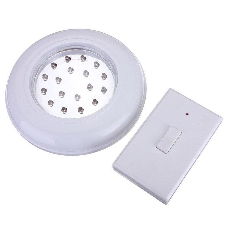 Blanco 18 LED inalámbrico de techo de pared de la lámpara de la escalera del armario de la lámpara de bulbo operado a batería con interruptor de Control remoto
