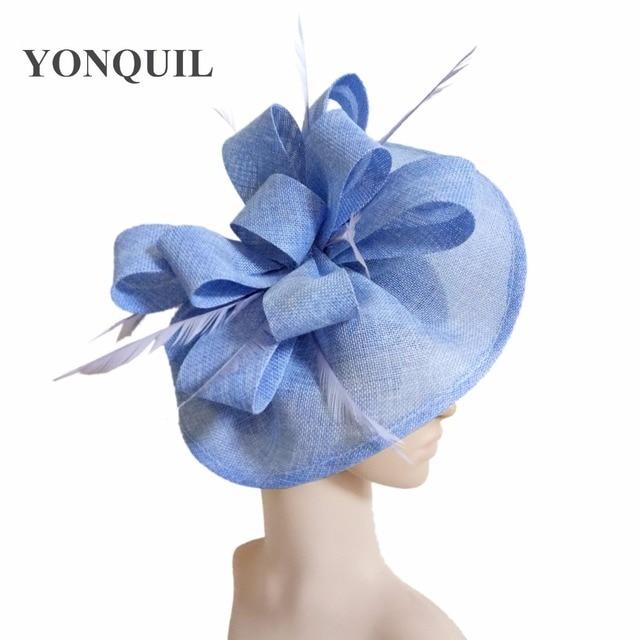 Feather Fascinators race Hats For Women Elegant light blue imitation  fascinator Hat Girls Ladies Formal Wedding Dress Hats SYF66 4b3f65e9e93