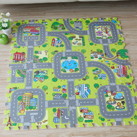 New 9pcs Baby EVA Foam Puzzle Play Floor Mat City Road Education And Interlocking Tiles And