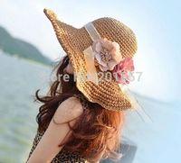 2015 Женская Мода Широкий Большой Брим sweety цветок чешский ручной Sun Пляжа Лета Hat Cap Бесплатная Доставка