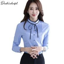купить dushicolorful long-sleeve shirt Spring white purple bow tie women blouse work wear formal office plus size top по цене 755.71 рублей