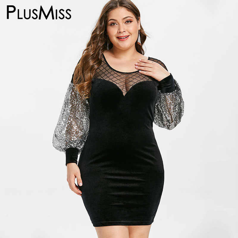 PlusMiss Plus Size Sexy Mesh Sequin See Through Evening Party Dresses 5XL  XXXXL XXXL Velvet Bodycon 06dc4e9580ab