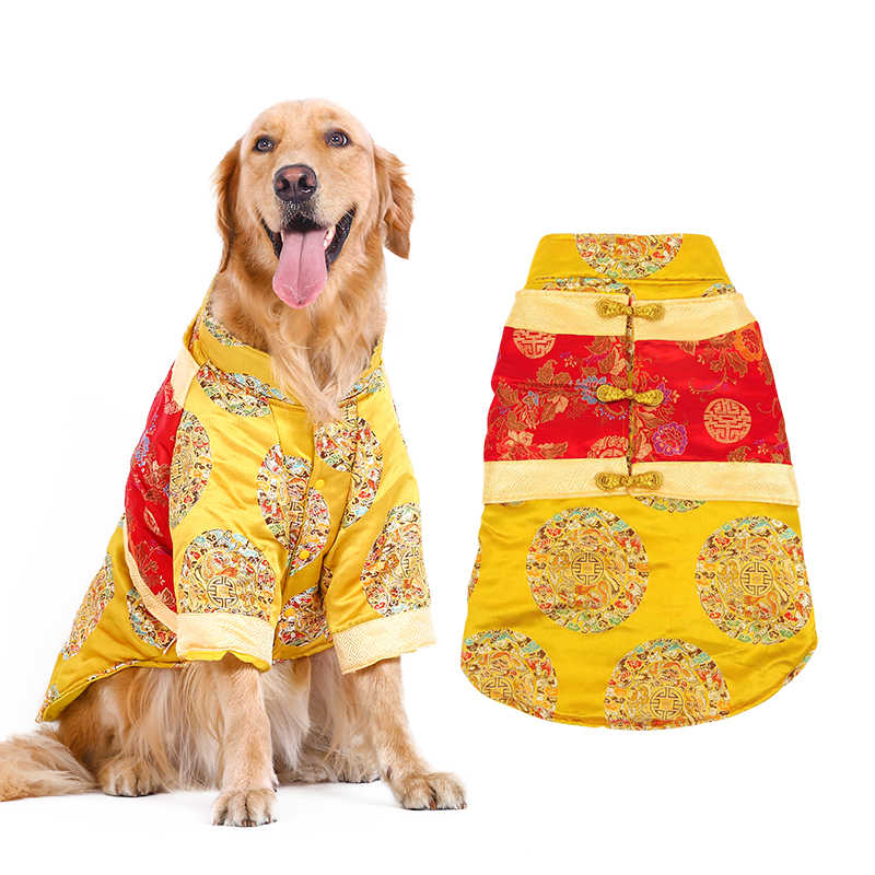 HOOPET Pet Dog Cat Chinese New Year Traditional Tang Suit Two Feet Clothes Autumn Winter Cotton-padded Clothes