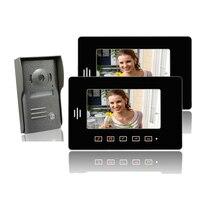 ENVÍO LIBRE 7 pulgadas TFT de Video Teléfono de La Puerta con La Visión Nocturna de La Cámara + 2 Monitores LCD multi-apartamento puerta de intercomunicación timbre