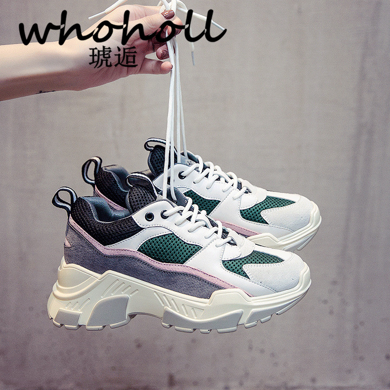 WHOHOLL Retro Sneakers Shoes Woman Brand Breathable Mesh Thick Platform Women Trainer Shoes Outdoor Athletic Women Sneakers cross training shoe