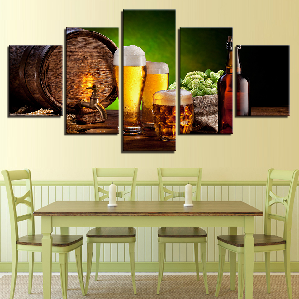 Canvas Painting HD Prints Kitchen Wall Art Framework 5 Pieces Beer ...