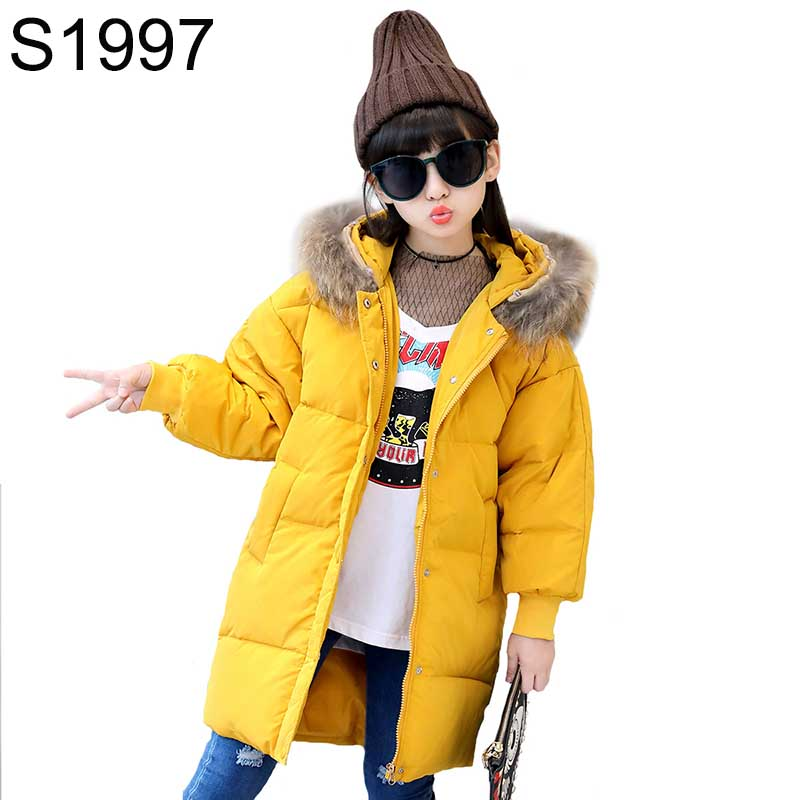 Winter Thicking Warm Girl's Jackets Coats Teenager Solid Long Down Snowsuit Outerwear Fashion Girls Fur Collar Hooded Jackets