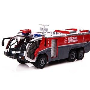 Image 2 - 1:50 İtfaiye havalimanı itfaiye kamyonu model alaşım araba oyuncak modeli geri çekin ses ışık oyuncak çocuklar için hediyeler ücretsiz kargo