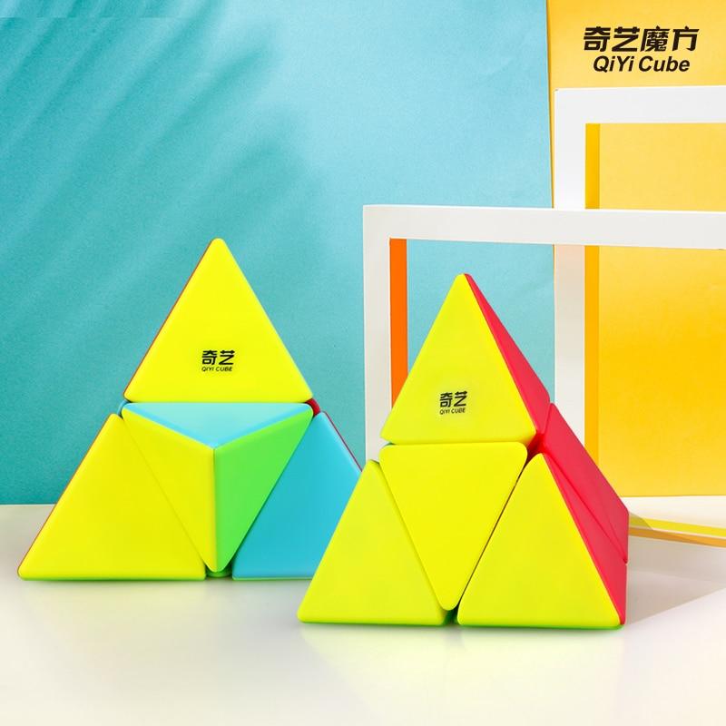 Newest QiYi 2x2 Pyramorphix Magic Cube Puzzle  2x2 Triangle Speed Cubo Magico Educational Kid Toys Drop Shipping XMD Mofangge