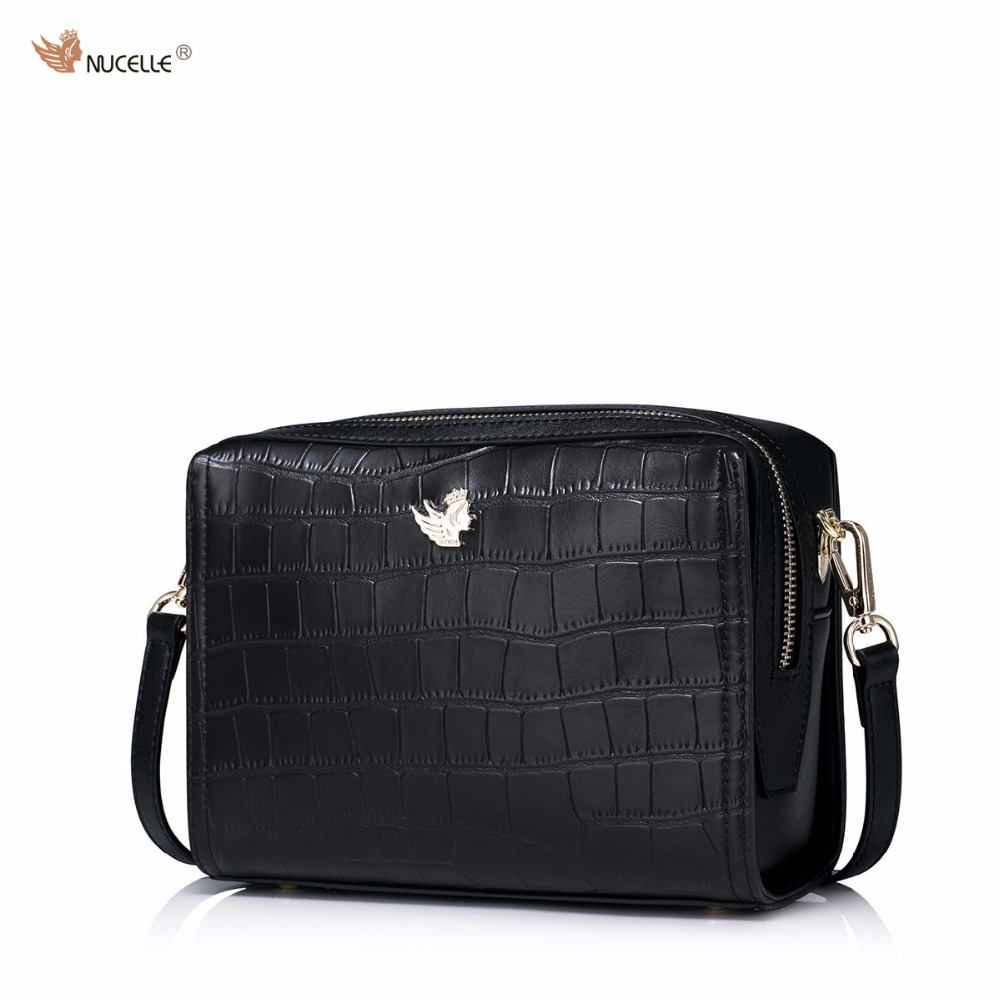 New NUCELLE Brand Design Fashion Casual Simple Crocodile Pattern Cow Leather Women Lady Mini Handbag Shoulder Flap Bag