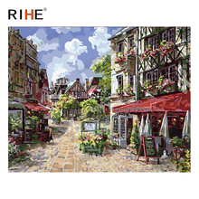 RIHE Street House Diy Painting By Numbers Abstract Town Oil Painting On Canvas Cuadros Decoracion Acrylic Wall Picture For Room rihe river house diy painting by numbers abstract garden oil painting on canvas cuadros decoracion acrylic wall picture for room