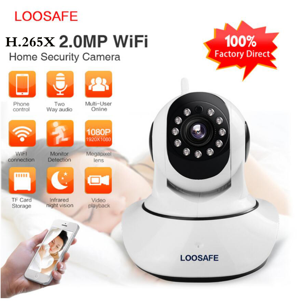 Loosafe IP Camera Wifi Baby Monitor 2MP H.265X Wifi Home Security CCTV IP Camera P2P IR-Cut Night Vision Indoor Kamer LS-F2 lumifor ls 6060 f2