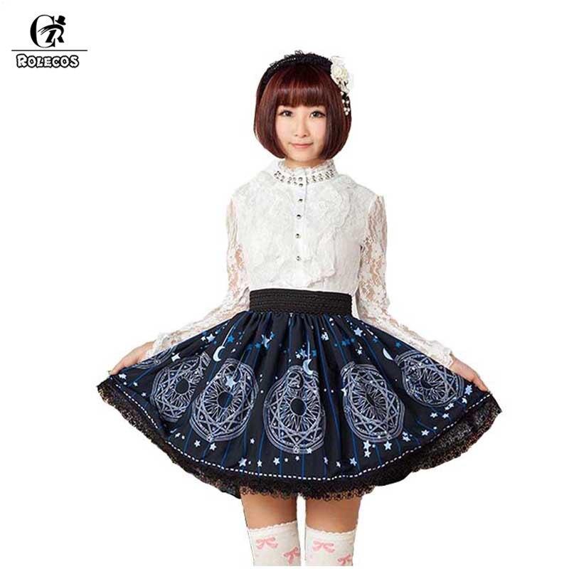 ROLECOS bleu impression Lolita jupe femmes belle magie cercle imprimé fête jupe avec dentelle noire pour les femmes Customes SK femme