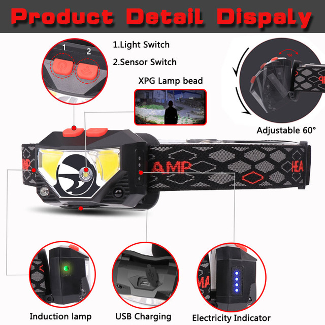 6000lums Hands-free LED Headlamp Motion Sensor head lamp LED headlight Torch Built-in battery inductive with Portable box 2