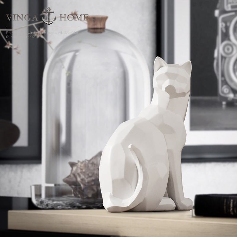 Nordic Resin Abstract Lucky Cat Figurines Home Decor Crafts Room Decoration Objects Vintage Ornament Animal In Miniatures
