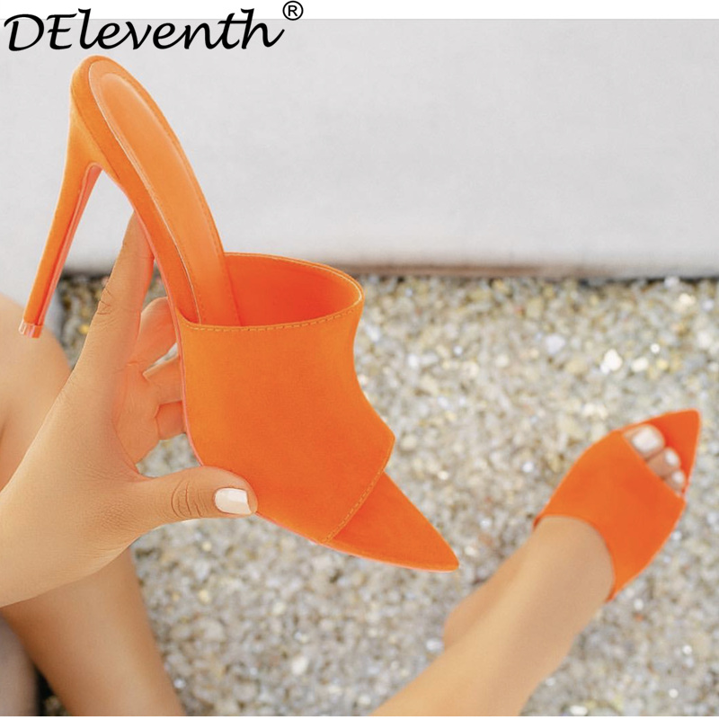 DEleventh Simmi EGO Briana Bitch INS Hot Pointy Stiletto High Heel Slippers Sandals Woman Shoes Candy Orange Blue Green Nude Blc