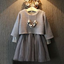 2016 Fashion Baby Kids Girls 2 Pcs Long Sleeve Grey Sweater Top+Dress Outfit Suits Set 2-7 Years